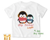 Big sister & Little brother shirt Winter Penguin Tshirt - Personalized Big sister Shirt or Bodysuit - 021_BS_2C_Winter Penguin02