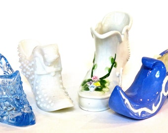 Porcelain and Glass Boot Collection, Lot of 4 Collectable Glass Slippers