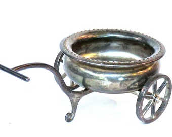 Godinger Silver Plate Sugar Bowl Wheeled Pull Cart, Candy Dish, Formal Dining