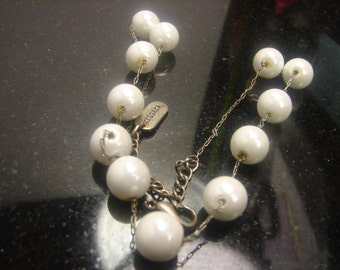 Vintage Kisska Shell Pearl Necklace on chain 1257
