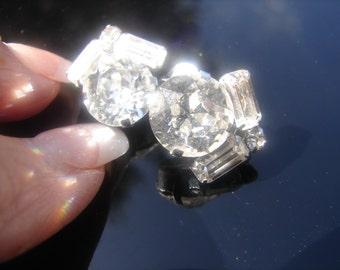 Rhinestone Clip Earrings- 13mm round cut Stone, Nice!  1269