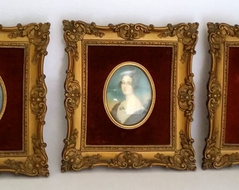Set Of 3 Victorian Cameo Portraits By Cameo Creation-1940's Fine Art Wall Decor
