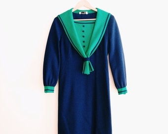 Vintage Sailor Collar Sheath Dress / Navy Blue & Green Nautical Wiggle Dress / 1960s Pinup Dress