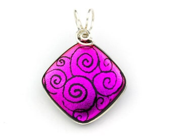 Magenta Pink Fused Glass Dichroic Pendant, Sterling Silver Wire Wrapped with Hand Drawn Swirls