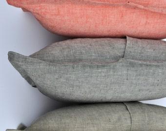 Cushion Cover Pure Linen Natural linen Salmon or Grey color  SHIPPING WORLDWIDE  100% linen home decor Pillow case with ribbon