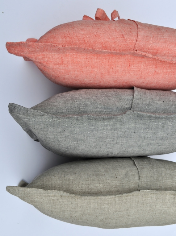 Cushion Cover Pure Linen Natural Linen Salmon Or By LinenStyle