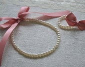Rosalie Set: Beautiful Newborn Ivory Pearls with Dusty Rose / Pink Ribbon Necklace with Matching Bracelet