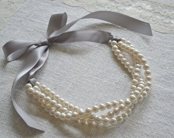 Zoe: Beautiful 3 / triple Strand Twisted Ivory Pearl Necklace with Gray Ribbon Tie