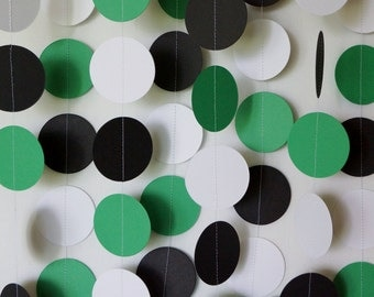 Green Party Decorations, Paper Garland, Saint Patricks Day, Green, Black White Paper Garland, Green Birthday Party Decor, 10 ft.