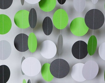 Green, Gray, White Garland, Lime Green Baby Shower Decor, Lime Birthday Party, Wedding Decorations, 10 ft.