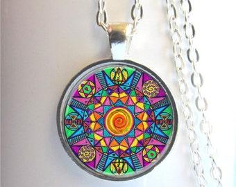 Mandala Necklace, Meditation Jewelry, Mandala Pendant, Colorful Mandala, Yoga Jewelry