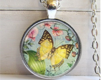 Butterfly Pendant, Altered Art Collage, Butterfly Necklace, Butterfly Jewelry
