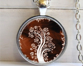 Tree Pendant - Whimsical Tree Necklace Art Charm