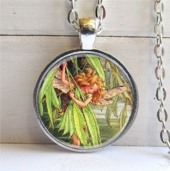 Willow Fairy Pendant, Flower Fairy, Vintage Fairy, Silver and Glass Pendant