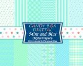 Mint Paper, Mint Digital Paper, Mint and Blue Paper, Mint and Blue Digital Paper, Aqua and Mint Paper, Mint and Aqua Paper  - Commercial OK