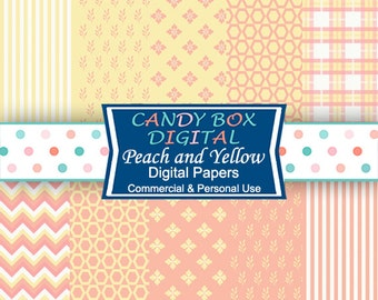 Peach and Yellow Digital Paper, Coral and Yellow Paper, Orange and Yellow  - Commercial Use OK
