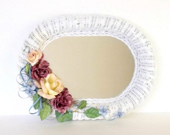 Vintage Wicker Mirror White Rose Floral & Ribbon decor, Oval wall mirror, wall hanging, faux porcelain floral, handmade hand painted