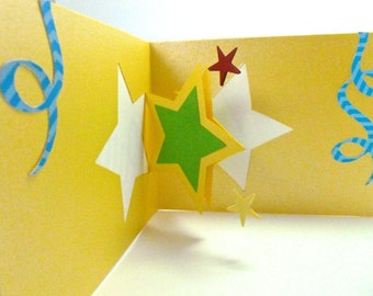 Star shaped pop up, Happy Birthday Card, Birthday Card for anyone, Party card