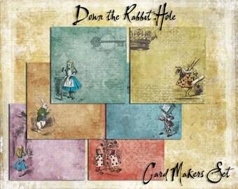 Digital Paper Pack Down The Rabbit Hole Cardmakers Set Alice in Wonderland downloadable printables