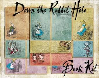 Digital Paper Pack Down the Rabbit Hole Book Kit Alice in Wonderland downloadable printables