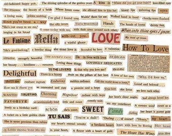 100+ Romantic VINTAGE WORDS - Tell Me A LOVE Story - Instant Printable Digital Collage Sheet