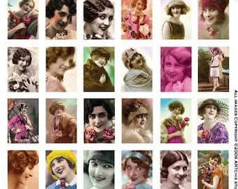 36 VINTAGE WOMEN - All Smiles -  Instant Printable Digital Collage Sheet