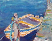 Dinghy seascape impressionistic colorful giclee print choose your size Peggy Johnson everygoodcolor