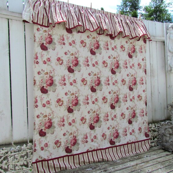 Waverly Norfolk Rose Ruffled Striped Shower Curtain RARE