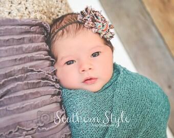 Brown Paisley Headband, Baby Headbands, Baby Girl Headbands, Infant Headbands, Infant Bows, Newborn Headbands, Baby Bows