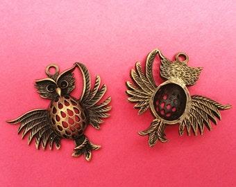 2pc 36mm antique bronze finish metal owl pendant-1726e