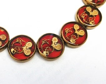 12pc 18mm copper plated round flat glass beads-8529
