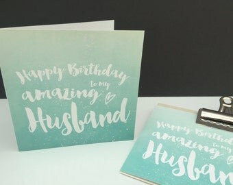 Happy Birthday To My Amazing Husband - Ombre Greetings Card