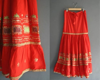70s Indian Skirt / Strapless Dress XS