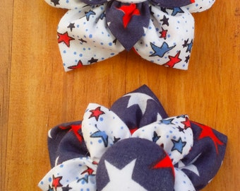 Stars and Stripes Fabric Flower Bows - Mix or Match Set of 2