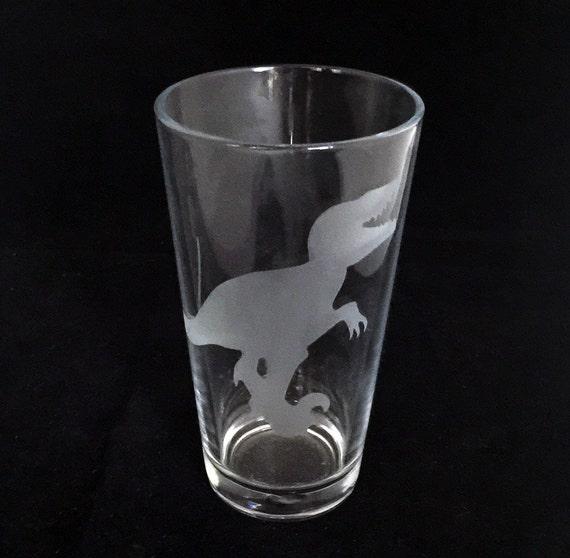 Velociraptor Raptor Dinosaur Custom Etched Pint Beer Glass Clever Girl