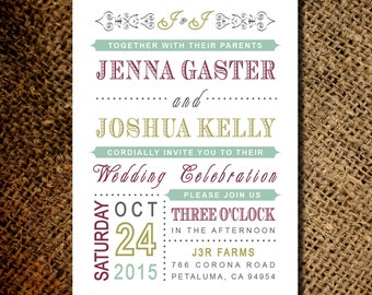Classic Vintage Wedding Invitation - Old Fashioned Style - Printable DIY
