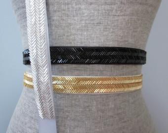 Chevron Beaded Sash / Belt in Gold, Silver, Black, Bronze, Gunmetal