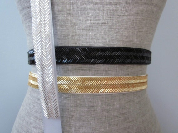 chevron beaded sash belt in gold silver black bronze