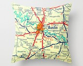 Texas Pillow Cover, Wife to Husband Gift, Custom Texas Map Pillow, Texas Gifts for Dad, Any City TX Austin Houston Dallas Throw Pillow