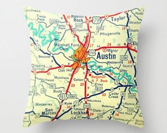 Texas Pillow Cover, Fixer Upper Pillow, Custom Texas Pillow, Fixer Upper Decor Texas Gift TX Vintage Texas Map Austin Dallas Throw Pillow