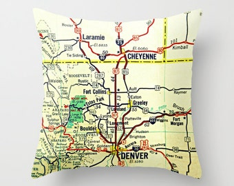 Colorado Map or Wyoming Map Pillow Cover, Denver Map, Cheyenne Map Any Map CO WY  Housewarming Gift Hometown Gift, Decorative Pillow Cover