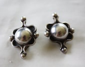 Vintage Sterling Silver Earrings, Mexico  Modernist Earrings, Boho Silver Earrings, 1980s Estate  Jewelry