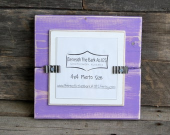 4x4 Picture Frame - Distressed Wood - Holds a 4x4 Photo - Lavender & White