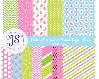 INSTANT DOWNLOAD, pink watermelon digital paper pack or background for personal or commercial use