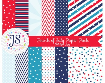INSTANT DOWNLOAD, Fourth of July digital paper for personal and commercial use