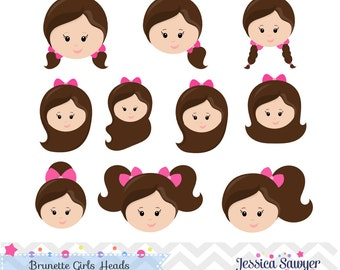 INSTANT DOWNLOAD - Girls Head Clipart and Vectors for personal and commercial use