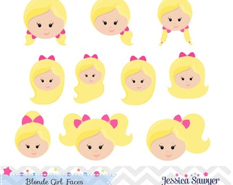 INSTANT DOWNLOAD  Blonde Girls Face Clipart and Vectors for personal and commercial use