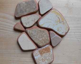 Genuine surf tumbled  beach pottery  Sea pottery, 9 pieces, fantasy mix mustard, jewelry, crafting, home decor  lotto142
