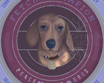 Dachshund - Fetch Champion - Little Dog Series - Peace Love Dogs - Square Print