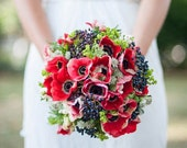 Custom Order for Margaret - Red Anemones, Blue Beries, Greenery, Add Ranunculus